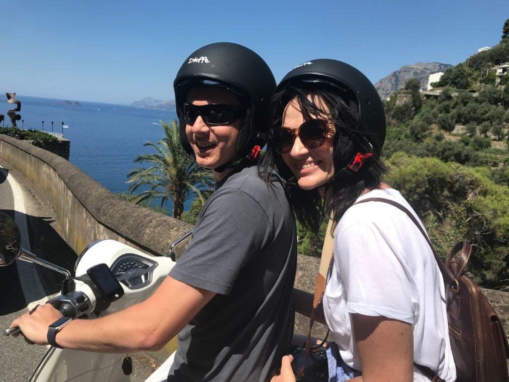 Couple on a Vespa in Campania, Italia