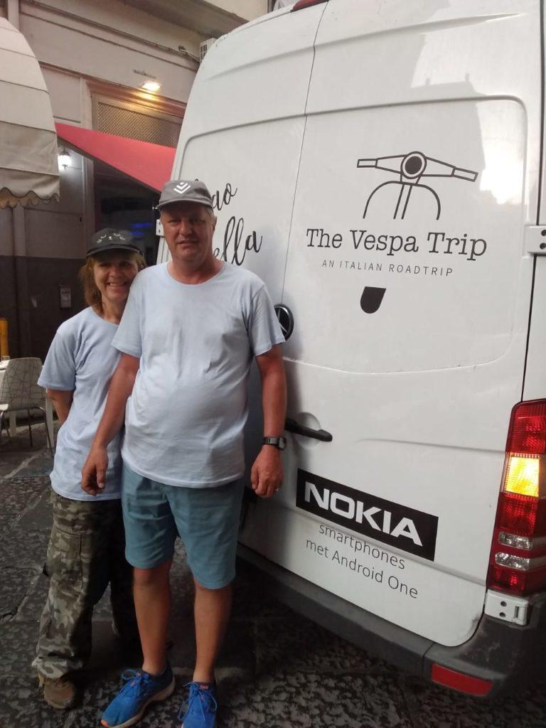 Posing next to The Vespa Trip van in Napoli