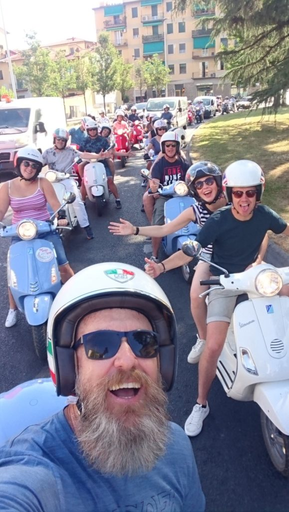 Group of Vespa's in Tuscany