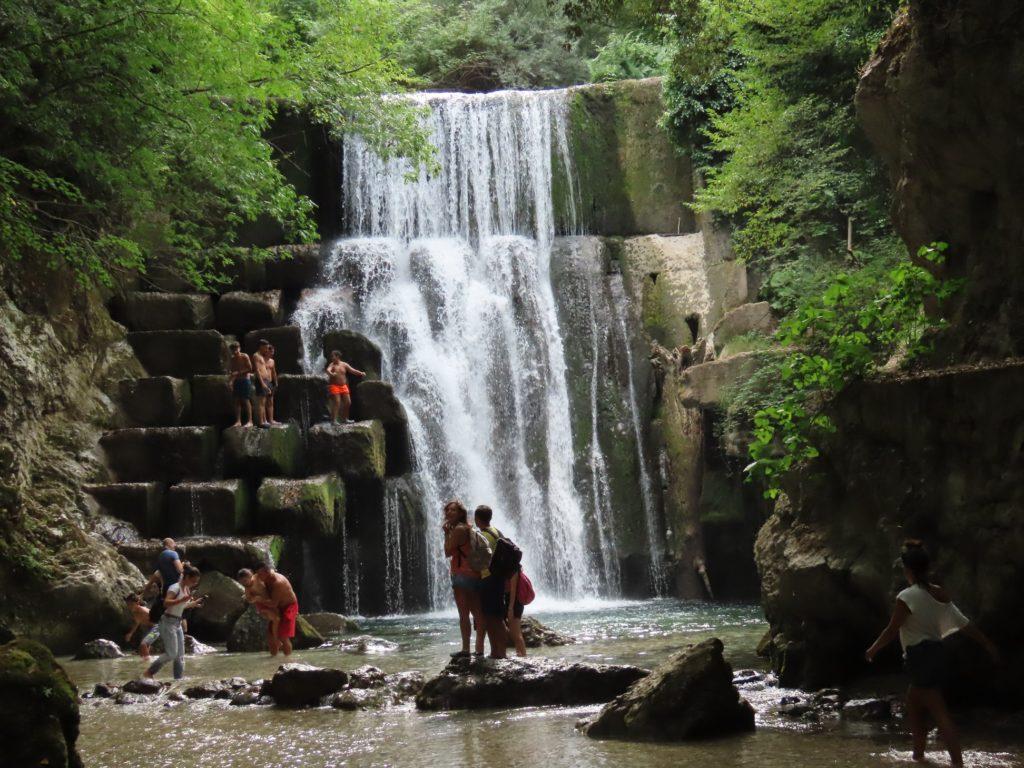 Vespugs in Italy, waterfall near Avellino