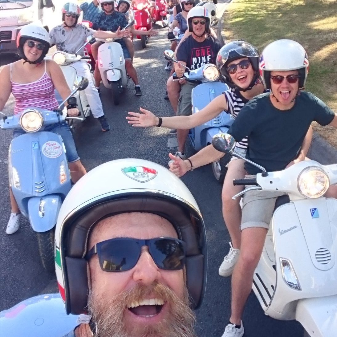 group of Vespas in Tuscany