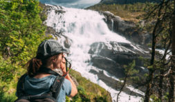 Kinsarvik, Hordaland, Norway. Young Woman Lady Tourist Traveler